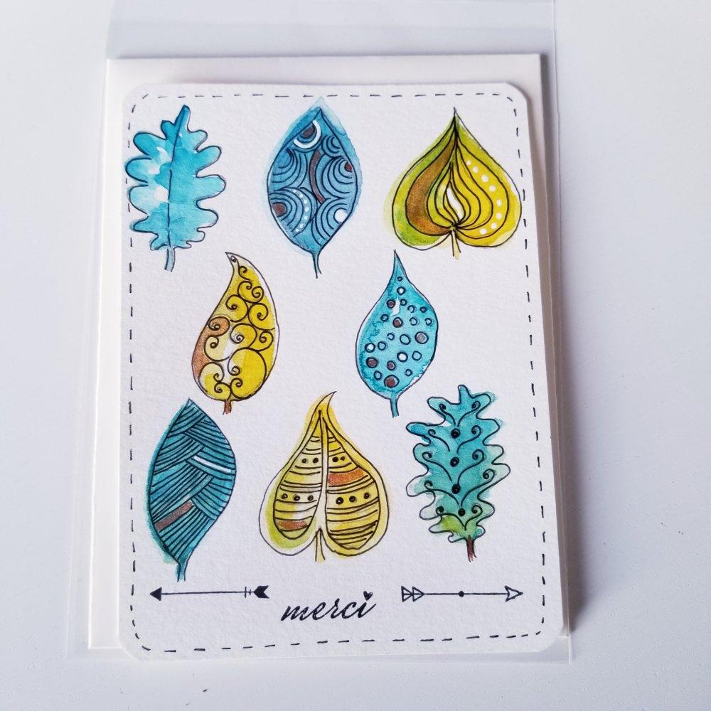 Carte simple merci aquarelle