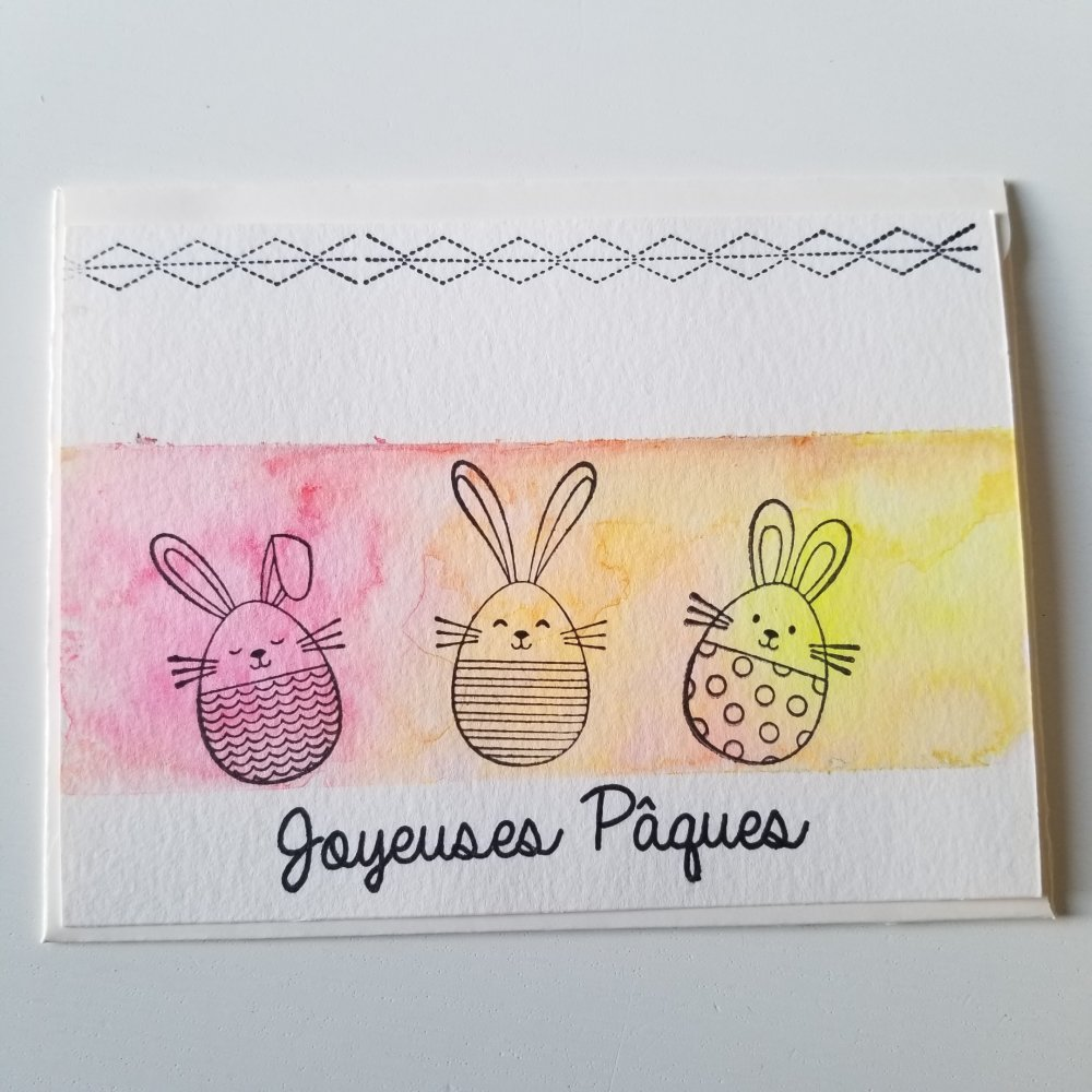 Carte simple joyeuses pâques aquarelle