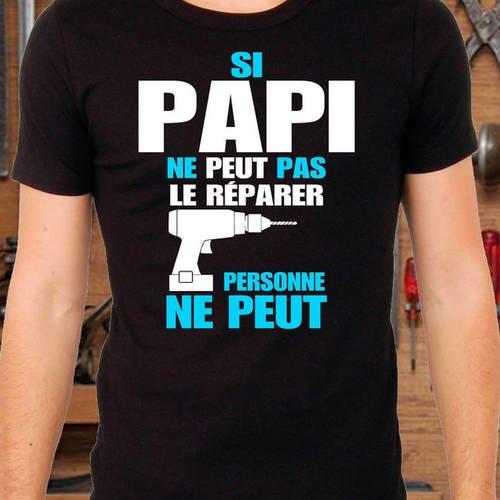 """T-shirt noir """"papi bricoleur"""""""