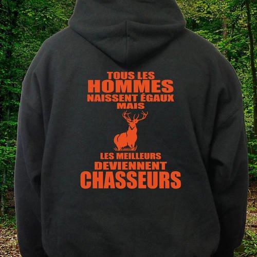 """Sweatshirt noir à capuche """"chasseur"""""""