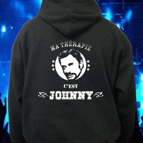 """Sweatshirt noir à capuche """"ma thérapie c'est johnny"""""""