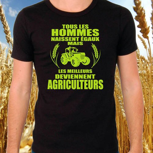 "T-shirt noir ""agriculteur"""