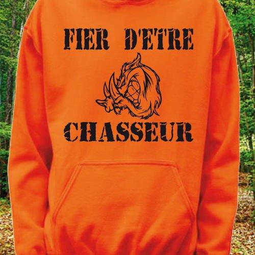 """Sweatshirt orange à capuche """"fier d'etre chasseur"""" tête de sanglier"""