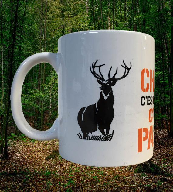 """Mug céramique blanc brillant """"Etre chasseur"""" motif cerf"""
