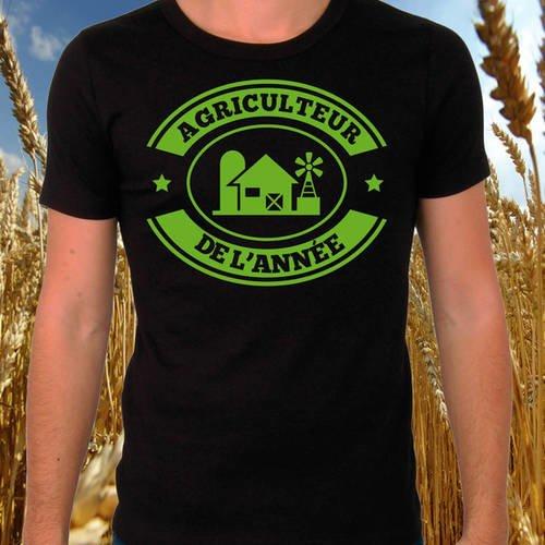 """T-shirt noir """"agriculteur de l'année"""""""