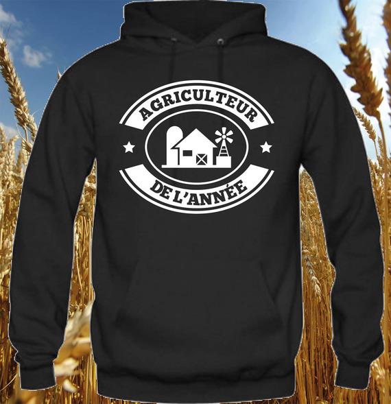 """Sweat-shirt homme noir """"Agriculteur de l'année"""" marquage blanc"""