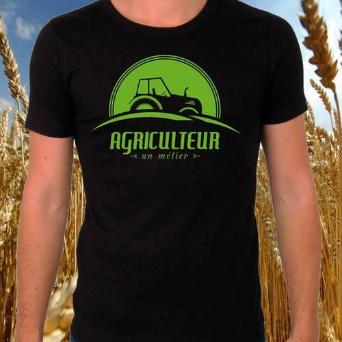 "T-shirt noir ""agriculteur un métier"""
