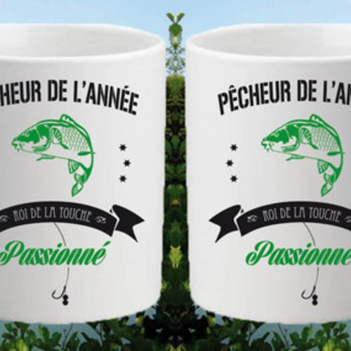 """Mug céramique blanc brillant """"pêcheur de l'année"""""""