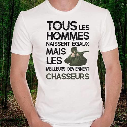 "T-shirt homme blanc ""chasseurs"" couleur"