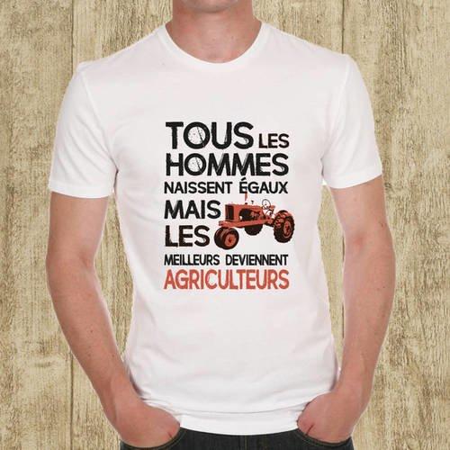 """T-shirt blanc """"agriculteur"""" motif rouge"""