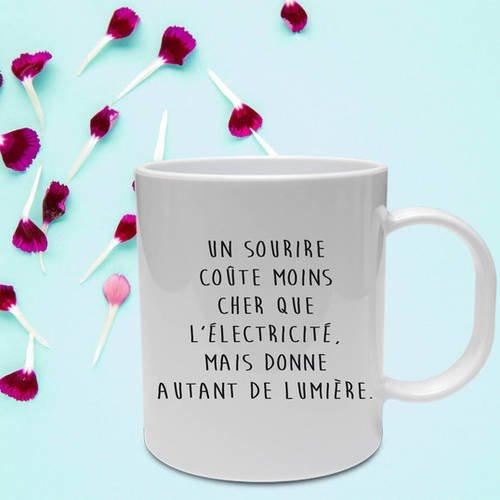 "Mug céramique blanc brillant ""un sourire"""