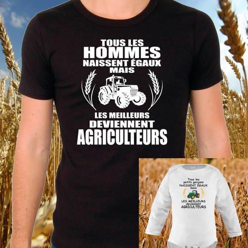 "T-shirt noir ""agriculteur"" + body ""petit garçon agriculteur"""