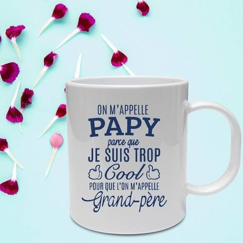 "Mug céramique blanc brillant ""on m'appelle papy"""