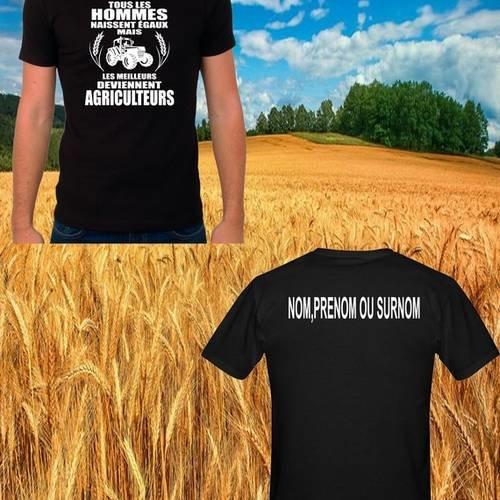 """T-shirt noir """"agriculteur"""" + prénom au dos"""