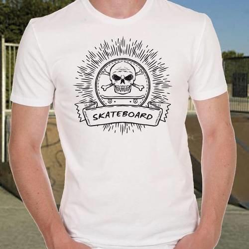 T-shirt homme blanc skateboard