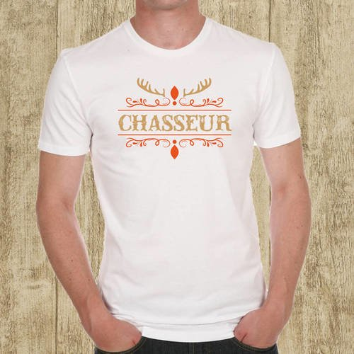 T-shirt homme blanc chasseur