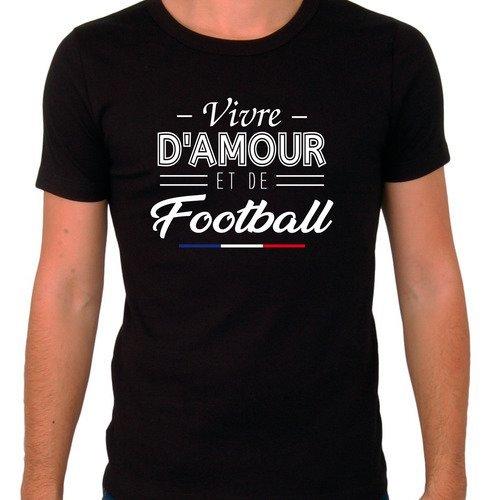 """T-shirt homme noir """"vivre d'amour et de football"""""""