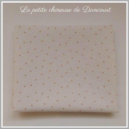 Coupon de tissus métis blanc à pois lin