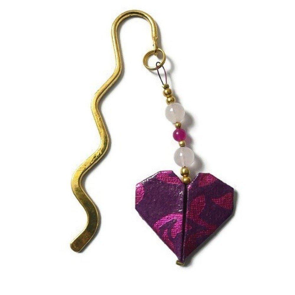 Marque page origami coeur - Pierres Quartz Rose et jade