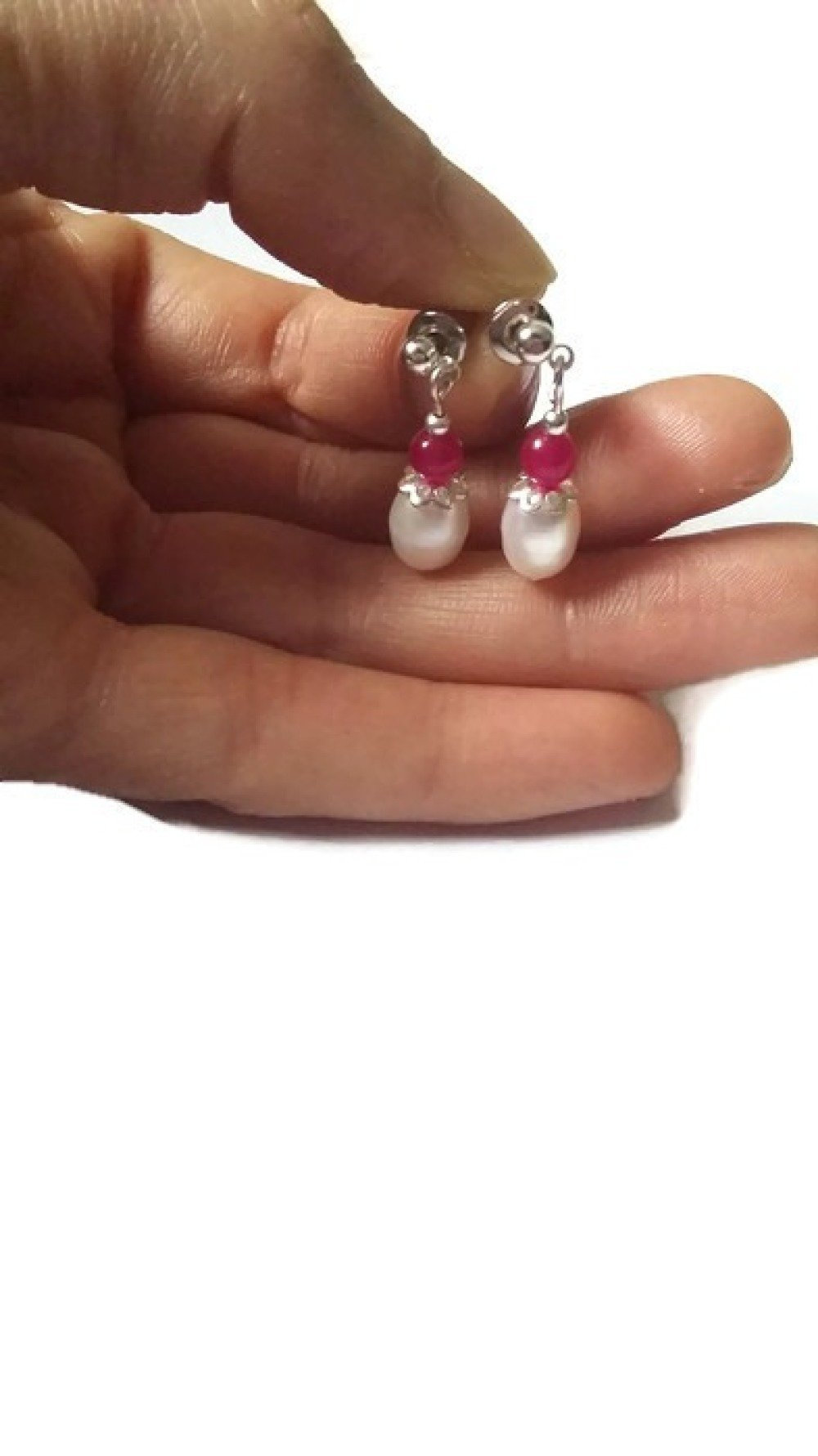 Boucles d'oreilles jade+perle