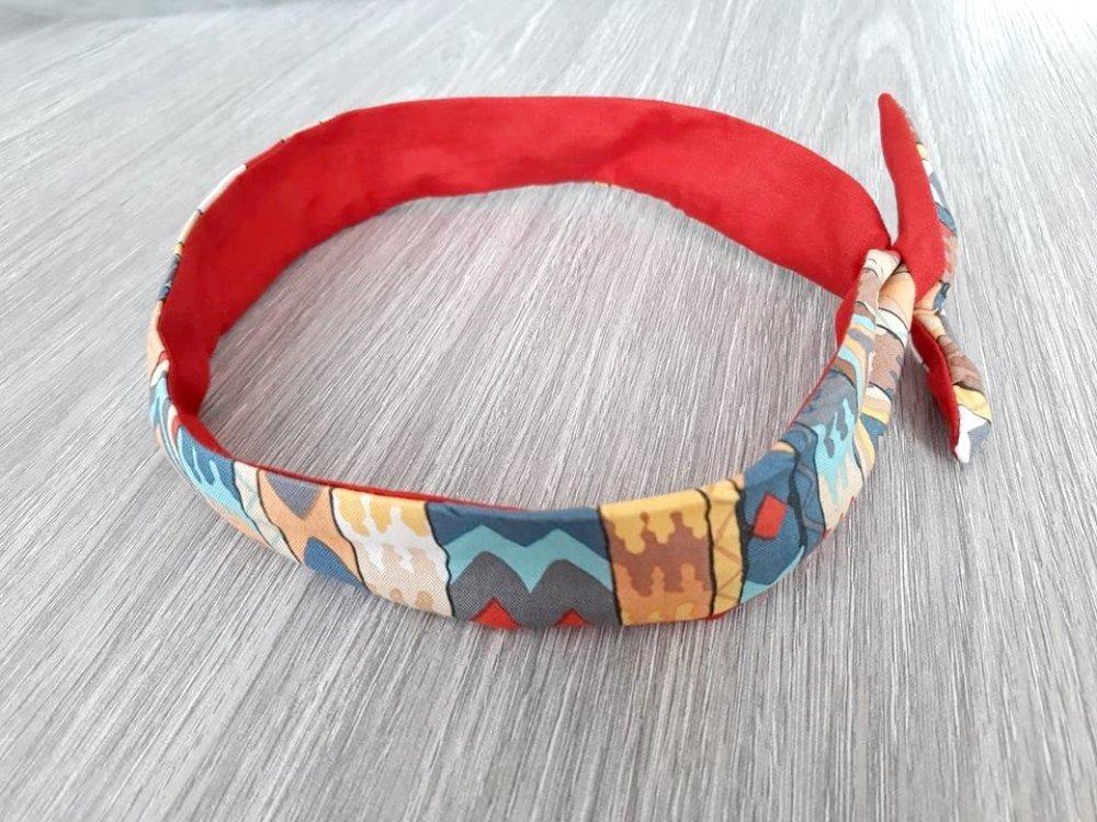 Bandeau - headband semi rigide en tissu multicolore et tissu uni rouge