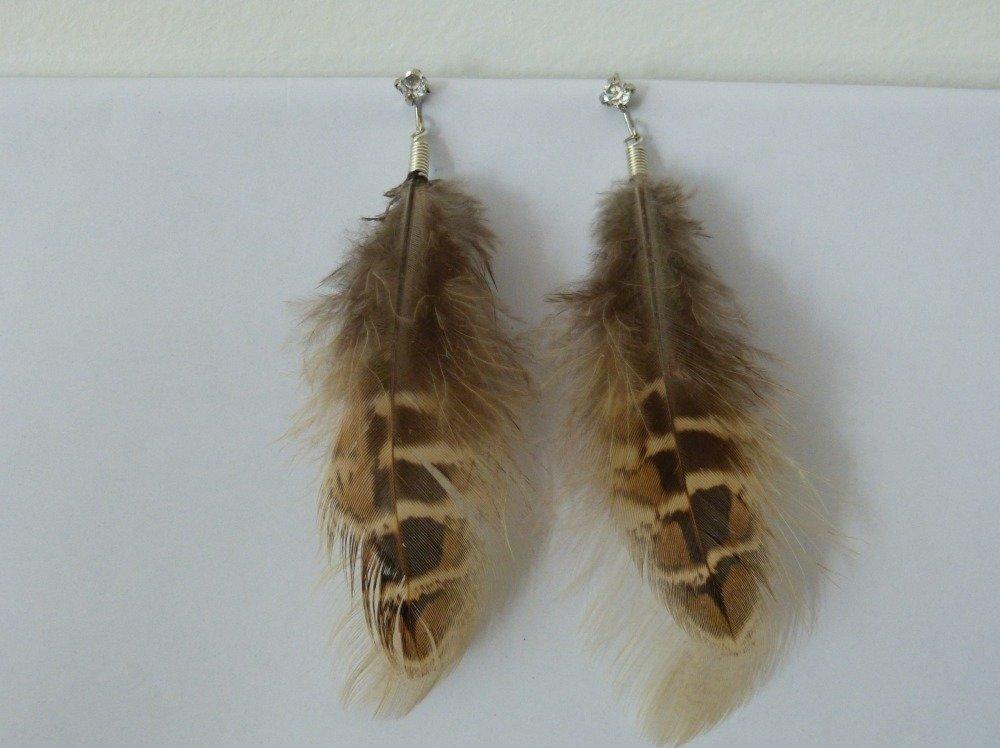 Boucle d'oreille à plumes de style animal marron