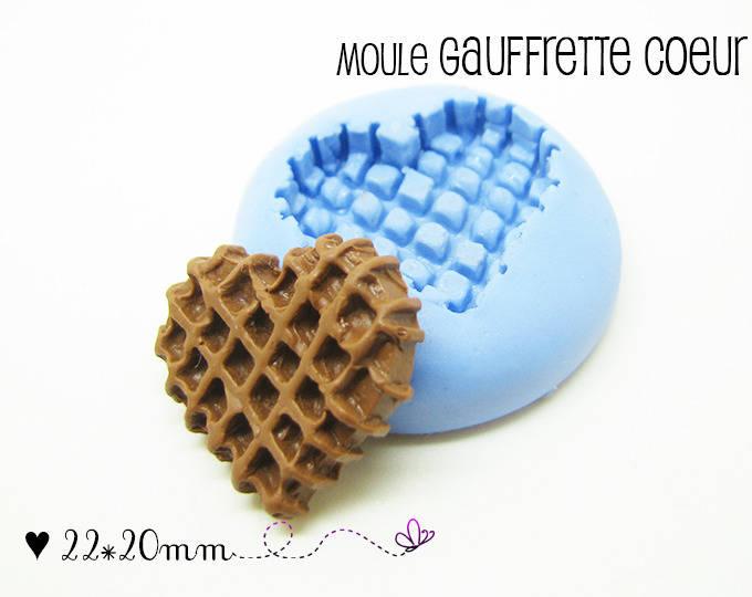 Moule Silicone Grande Gaufrette Coeur - 22*20mm