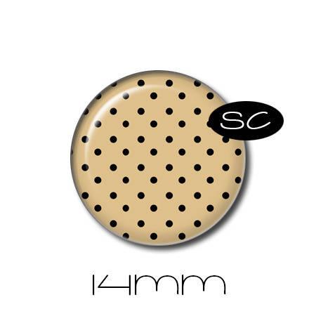 1 cabochon en verre 14mm | Tartan | n°3 | tissus, vichy, pois, beige, noir rouge
