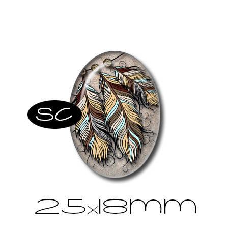 1 cabochon en verre 25x18mm | Attrape Rêves 2 | n°1 | plumes, plume, beige, bleu, marron