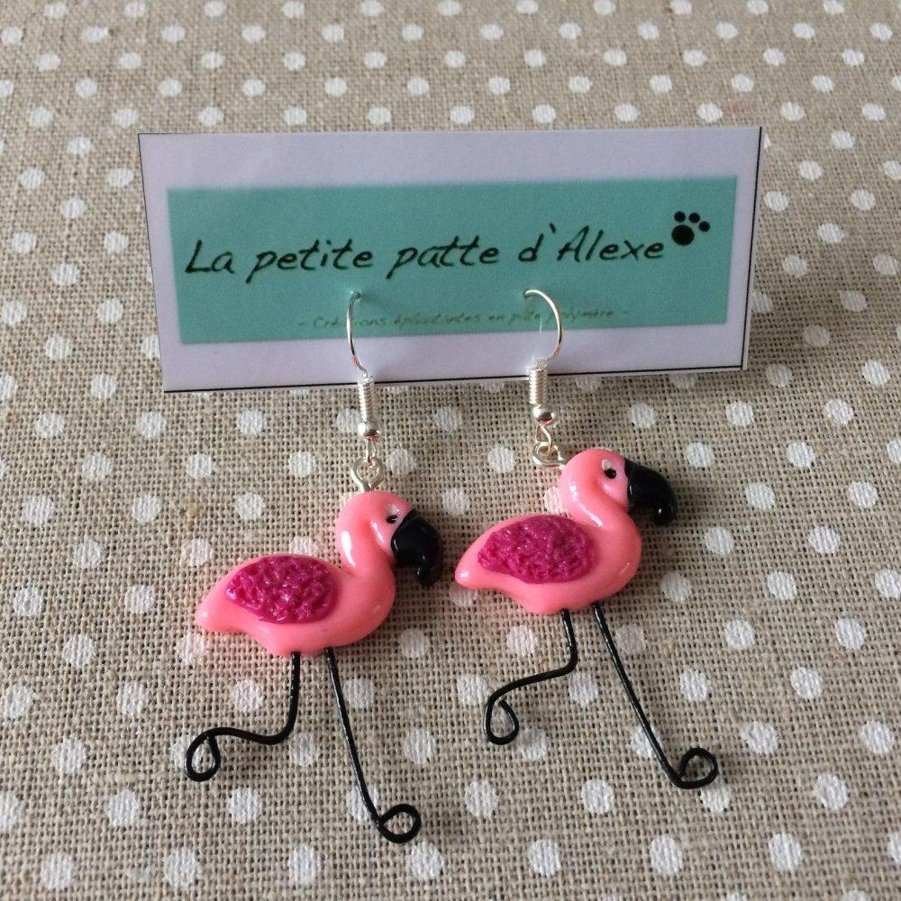 """Boucles d'oreilles """"Flamants rose"""""""