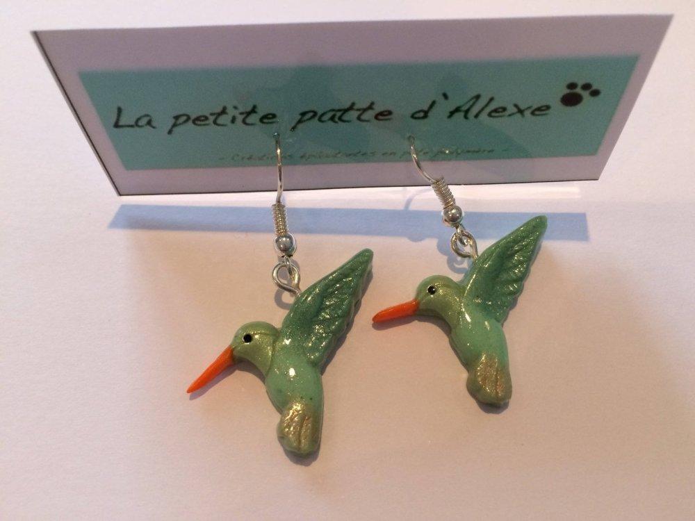 """Boucles d'oreilles """" Colibri vert irisé"""""""