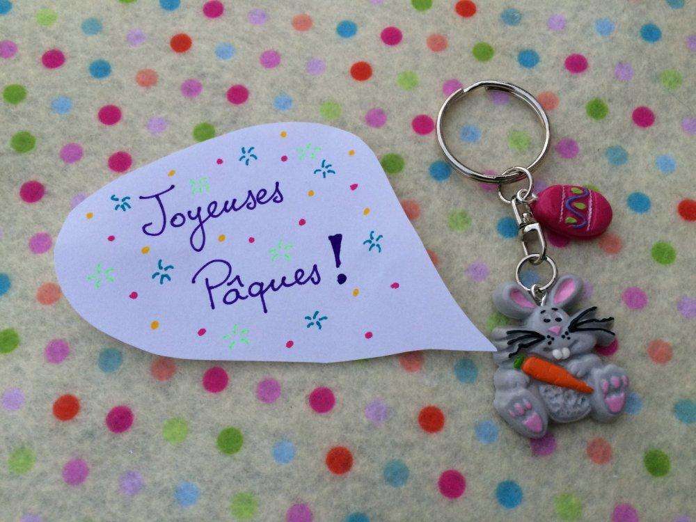 """Porte-clefs """"Mon petit lapin de Pâques et sa carotte"""""""