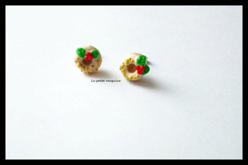 Boucles d'oreilles/puces gourmandes  donuts de noël - FIMO