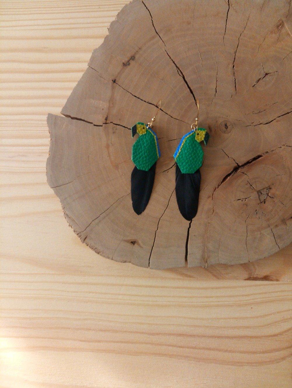 """Boucles d'oreilles perroquets """"Daphnée"""" en cuir"""