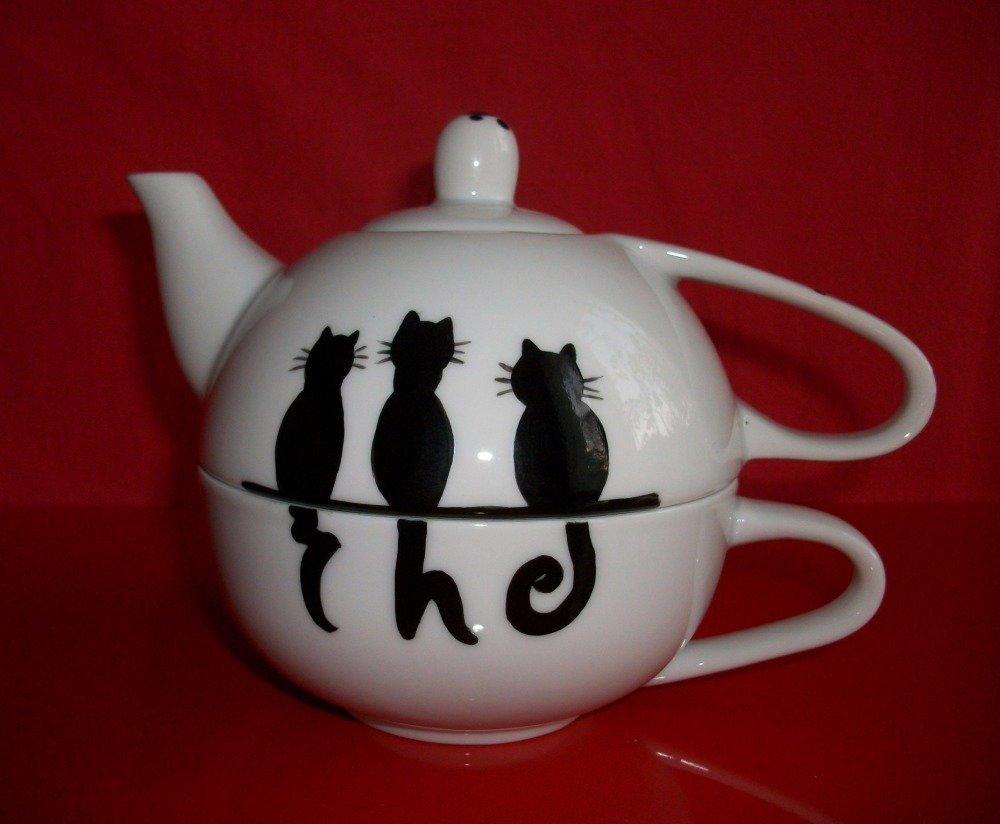 """Théière égoïste en porcelaine de Limoges """" Chats noirs thé """""""