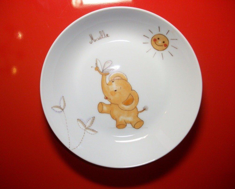"""Assiette enfant en porcelaine de Limoges : """" Éléphanteau"""""""