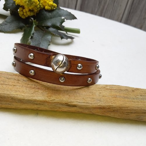 Bracelet cuir marron fermoir aimanté