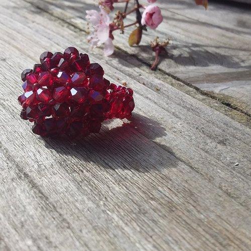 Bague perles cristal swarovski rouge