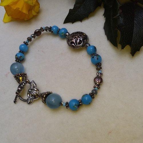 Bracelet gourmette bleu et argent