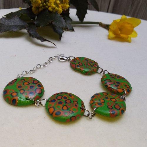 Bracelet perles plates, vert et orange