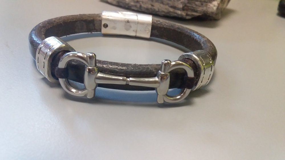 Bracelet homme, cuir, couleur gris