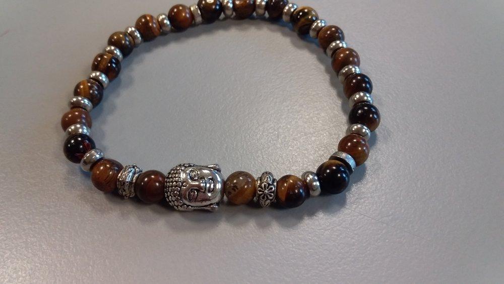 bracelet œil de tigre et bouddha