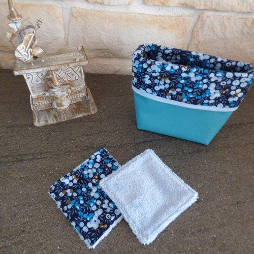 Paniere de lingettes lavables demaquillantes tons bleus fait main