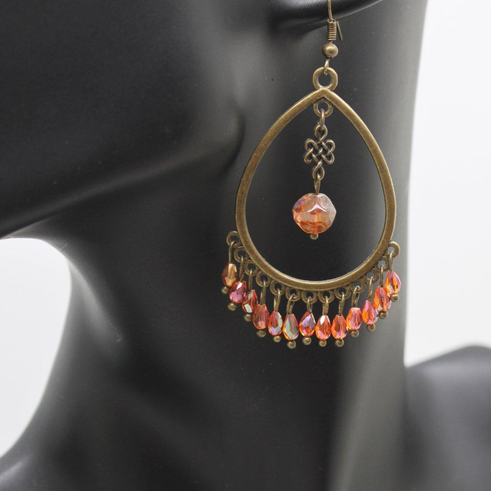 Boucles d'oreilles Boho bronze et perles en verre taillé oranges