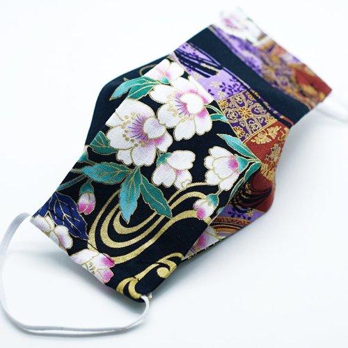 Masque de protection en tissu japonais geisha et fleurs de cerisiers sur fond noir