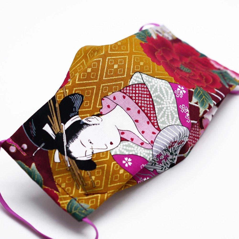 Masque de protection en tissu japonais geisha à l'éventail et fleur rouge