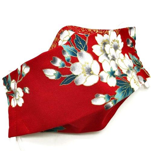 Masque de protection en tissu japonais fleurs de cerisiers sur fond rouge