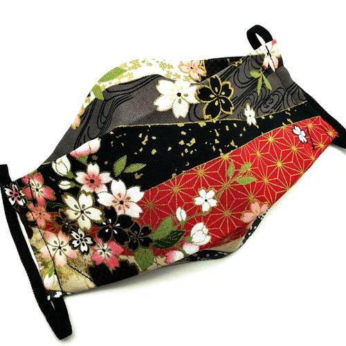 Masque de protection en tissu japonais fleurs de cerisiers or sur fond noir et asanoha rouge et or
