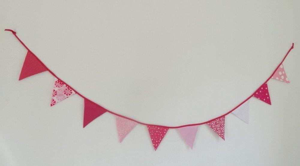 Guirlande de fanions en tissu - Rose / Fuchsia