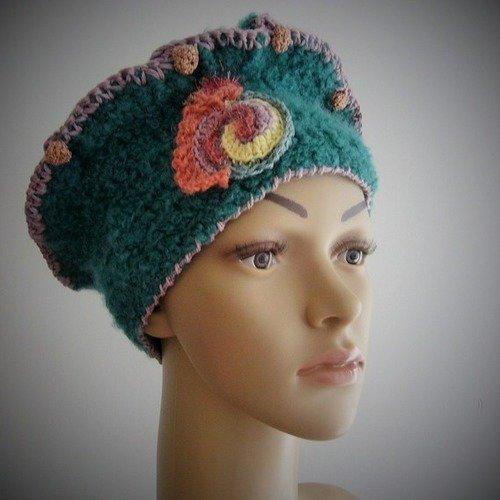 Chapeau Modele Unique Crochete De Couleur Petrole Un Grand Marche